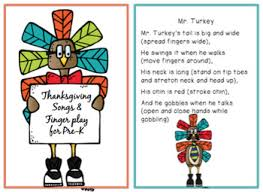 turkey songs and finger play for pre k by preschool printable tpt
