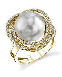 braided ring south sea pearl diamond braided ring