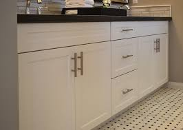 mission thermofoil satin white frameless cabinetry with brushed