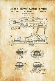 Cabin Decor Ski Shoe Patent Patent Print Wall Decor Ski Lodge Decor Ski