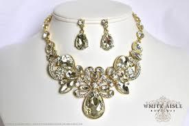 bridal necklace set gold images Gold bridal statement necklace set wedding jewelry set vintage jpg