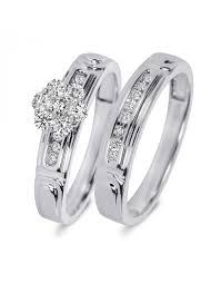 3 8 carat t w trio matching wedding ring set 14k yellow gold 3 8 carat t w trio matching wedding ring set 10k white gold