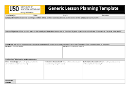 lesson plan template qld usq generic lesson planning template doc teaching diversity
