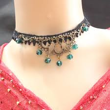 bead lace necklace images Fashion jewelry retro fashion fresh forest green lace necklace jpg