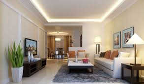 simple and neat modern white living room decoration using led high