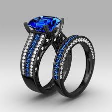 blue wedding rings blue sapphire with asscher cut women39s black wedding ring set