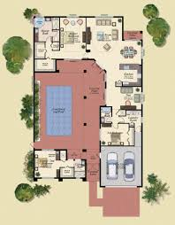 u shaped house plans with central courtyard 4 swimming pool g