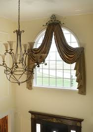 arched window treatments marlboro new jersey custom drapes drapes and curtains for arched windows are designed to create a softer look and highlight the architecture of the foyer the top valance drapes around the