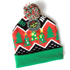 Knit Cap With Led Light Led Light Up Christmas Hat Stocking Caps The Ugly Sweater Shop