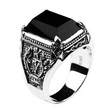aliexpress buy mens rings black precious stones real black obsidian ring vintage 100 real 925 sterling silver for
