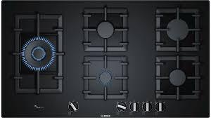 Bosch Cooktops Bosch 90cm Series 6 5 Burner Tempered Glass Gas Cooktop Black