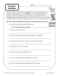 metaphor worksheets 4th grade free worksheets library download
