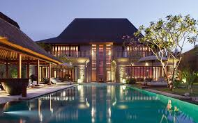 captivating two story balinese home design with natural roofing