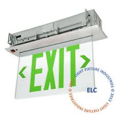 emergency lights with battery backup green led emergency exit light sign recessed edge lit battery backup
