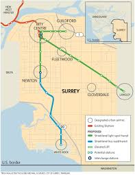 Vancouver Skytrain Map Hepner Promises Light Rail For Surrey By 2018 The Globe And Mail