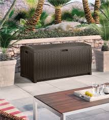 Resin Wicker Storage Box Outdoor Furniture Plow  Hearth - Patio furniture made in usa