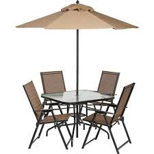 Patio Set Umbrella 6 Outdoor Folding Patio Set With Table 4 Chairs Umbrella And
