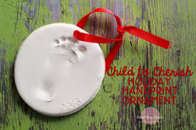child to cherish handprint ornament