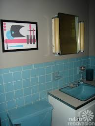 Blue Bathroom Tile by 60s Blue Bathroom I Actually Like The Idea Of The Sink Vanity