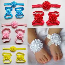 flowers for headbands 2017 newborn barefoot sandals and headbands set multilayers
