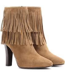 Brown Fringe Ankle Boots Saint Laurent Lily 95 Fringed Suede Ankle Boots For Spring Summer