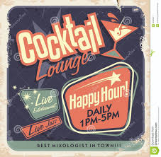 vintage cocktail party retro poster design cocktail lounge party vector concept vintage