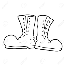 army coloring book freehand drawn black and white cartoon shiny army boots royalty