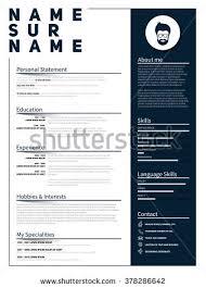 minimalist cv resume template simple design stock vector 482968711