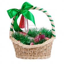 christmas basket 5807424 christmas basket with bow assorted ornaments isolated
