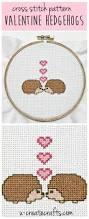 cross stitch pattern valentine hedgehogs