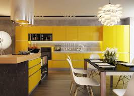 yellow cabinets and drawers cream chairs wooden countertop black