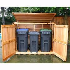 outdoor trash can storage shed plans garbage wood rubbermaid sheds