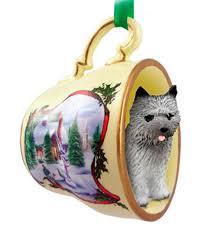 cairn terrier teacup ornament snowman figurine gray