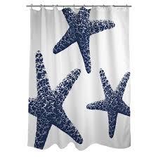 Shower Curtain Nautical Nautical Nonsense Blue White Starfish Shower Curtain Free