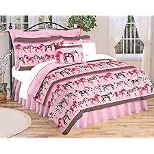 Girls Horse Bedding Set by Amazon Com Girls Turquoise Blue U0026 Pink Pony Horse Comforter Set W