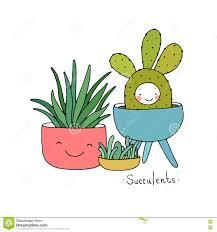 cartoon cute succulents in pot stock vector image 75058102