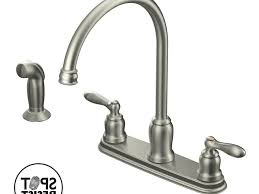 iron moen caldwell kitchen faucet wall mount two handle side
