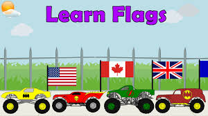 monster trucks videos monster truck videos learn country flags for kids educational