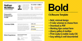 Bold Resume Template by Bold Resume Template Bold A Cvresume Template For Smart