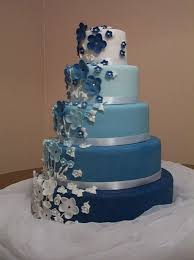 Cake Place 5 Tier Fading Blue And White Wedding Cake Accented