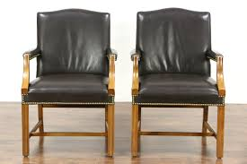 Vintage Leather Club Chair Pair Of Vintage Leather Office Or Library Chairs With Arms Signed