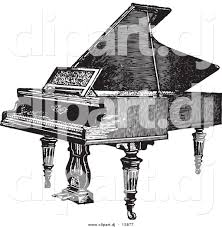 vector clipart of a grand piano vintage black and white sketched