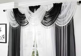 white voile curtain swag with crystal beaded trim by supplied by