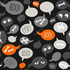 halloween related text and designs on gray orange talk bubbles on