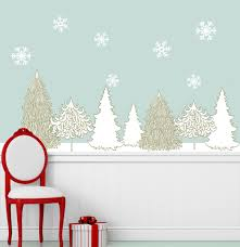breezy tree wall decal and bird stickers in white and wood grain winter wonderland decal set holiday wall decor stickers snowflakes trees