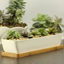 Large Succulent Planter Modern Style Decorative White Rectangle Ceramic Crafts Succulent
