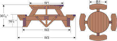 Designs For Wooden Picnic Tables by Round Wooden Picnic Table With Attached Benches