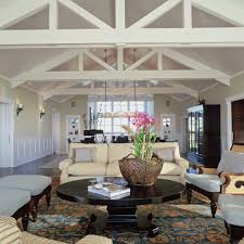 Beach Style Area Rugs Volume Ceiling Living Room Beach Style With Wood Beams Tufted Area