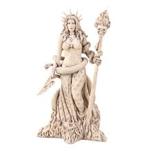 hecate greek goddess of the underworld white resin wicca witch statue