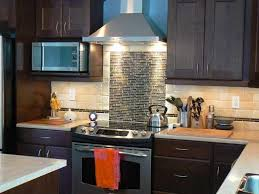 chocolate brown cabinet with beige colored backsplash for small